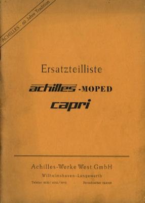 Achilles Moped Capri Ersatzteilliste-Preisliste 1952