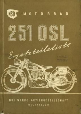 NSU 251 OSL Ersatzteilliste 6.1950