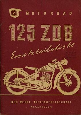 NSU 125 ZDB Ersatzteilliste 5.1950