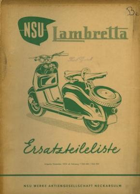 NSU Lambretta Ersatzteilliste 11.1953