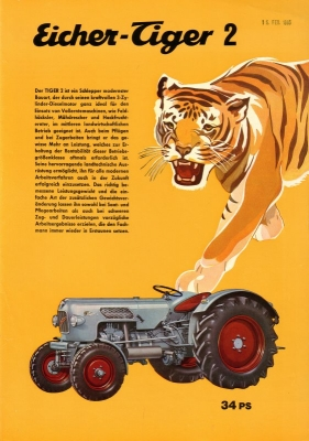 Eicher 30 PS Tiger 2 Schlepper Prospekt 10.1964