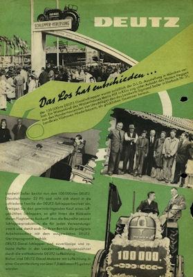 Deutz Schlepper Verlosung Prospekt ca. 1953