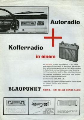 Auto- und Kofferradio Blaupunkt Mainz Prospekt 1960er Jahre