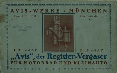 Avis Vergaser 1920er Jahre