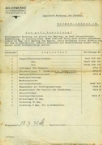 Adler Trumpf Junior Werkzeug Liste 1938