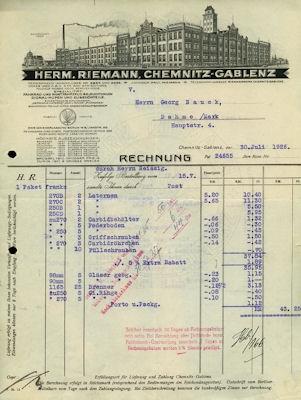 Riemann Brief 1920er Jahre