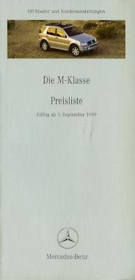 Mercedes-Benz M-Klasse Preisliste 9.1999