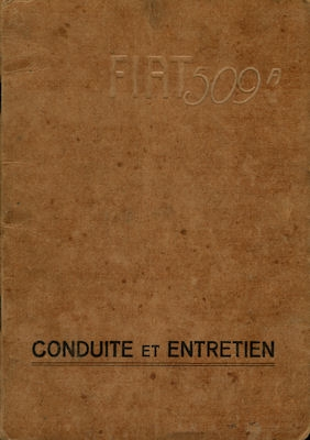 Fiat 509 Bedienungsanleitung 9.1929 f