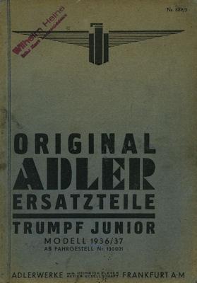 Adler Trumpf Junior Ersatzteilliste 12.1936