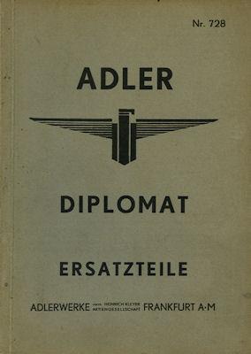 Adler Diplomat Ersatzteilliste 8.1934