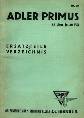 Adler Primus Ersatzteilliste 1.1933
