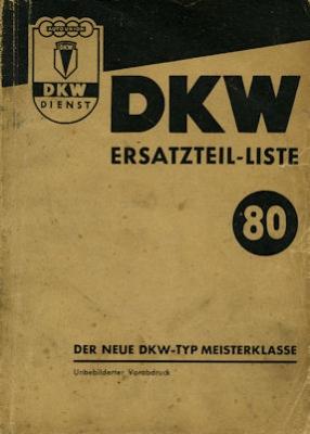 DKW Meisterklasse Ersatzteilliste Nr. 80 9.1951