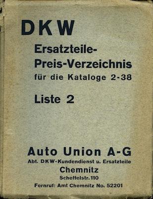 DKW Ersatzteil-Preisliste Nr.2 4.1936