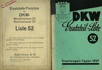 DKW Meisterklasse Reichsklasse Ersatzteilliste Nr. 52 1937 / 6.1942