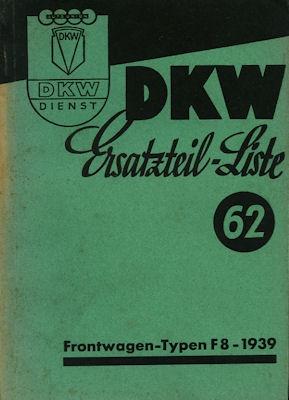 DKW Meisterklasse Reichsklasse Ersatzteilliste 62 8.1939