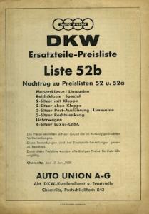 DKW Ersatzteil-Preisliste Nr. 52b 1939