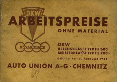 DKW Arbeitspreise 1938