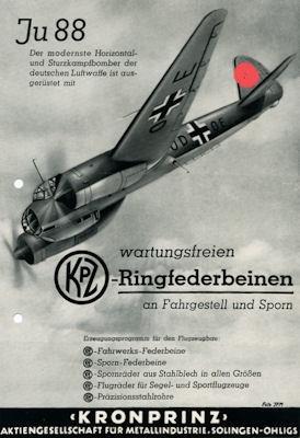 Junkers Ju 88 / Kronprinz Kleinplakat 1940er Jahre