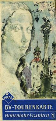 B.V. Tourenkarte Hohenlohe-Franken 1950er Jahre