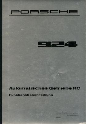 Porsche 924 Automatisches Getriebe RC Kundendienst Information ca. 1978