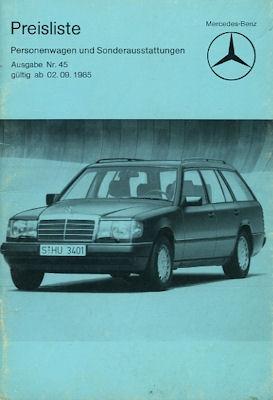 Mercedes-Benz Preisliste 2.9.1985