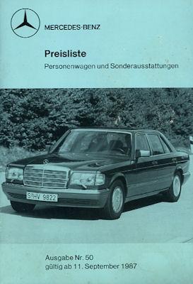Mercedes-Benz Preisliste 9.1987