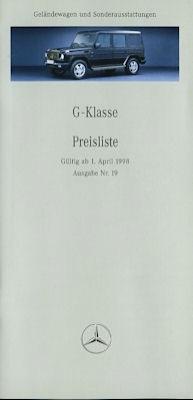 Mercedes-Benz G-Klasse Preisliste 4.1998