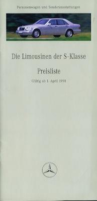Mercedes-Benz S-Klasse Preisliste 4.1998