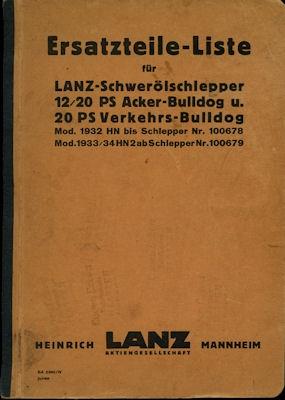 Lanz Schwerölschlepper 12/20 PS Ackerbulldog + 20 PS Verkehrsbulldog Ersatzteilliste 1935