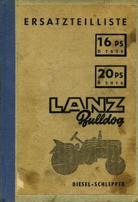 Lanz Bulldog 16 PS 20 PS Ersatzteilliste 8.1955