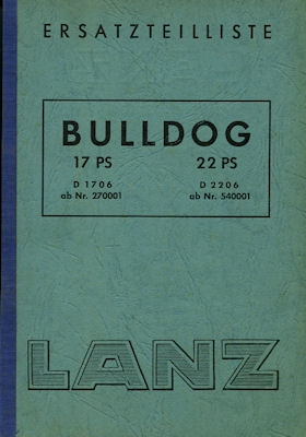 Lanz Bulldog 17 PS 22 PS Ersatzteilliste 9.1953