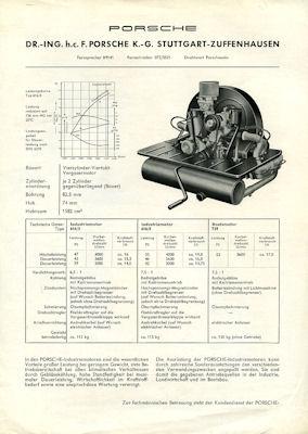 Porsche Industriemotor 616/3, 616/8 und 729 Prospekt 1950er Jahre