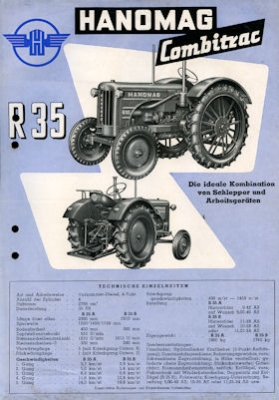 Hanomag Combitrac R 35 Schlepper Prospekt 1950er Jahre