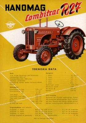 Hanomag Combitrac R 27 Schlepper Prospekt ca. 1956 s