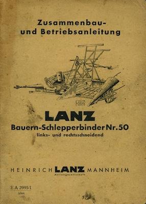 Lanz Schlepperbinder Nr. 50 Bedienungsanleitung 1940er Jahre
