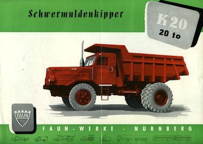 Faun Type K 20 Schwermuldenkipper Prospekt ca. 1960