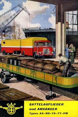 DAF Sattelauflieger + Anhänger Prospekt ca. 1960