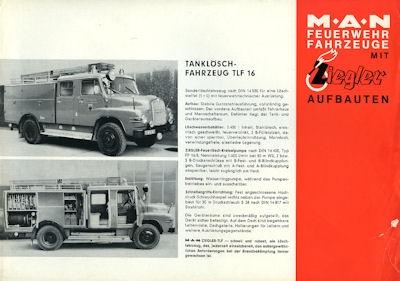 MAN Ziegler Feuerwehrfahrzeuge Prospekt 1960er Jahre