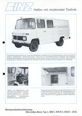 Mercedes-Benz Binz Blutspendedienstfahrzeug Prospekt 1970er Jahre