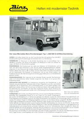 Mercedes-Benz Binz Krankenwagen Prospekt 1970er Jahre