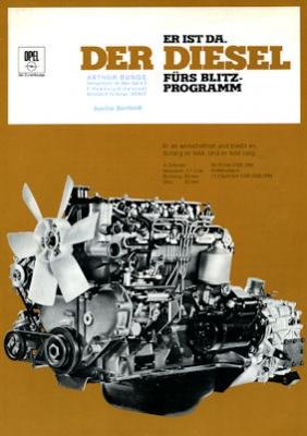 Opel Blitz Diesel Motoren Prospekt 9.1968