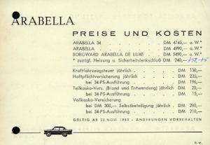 Borgward Arabella Preisliste 1961