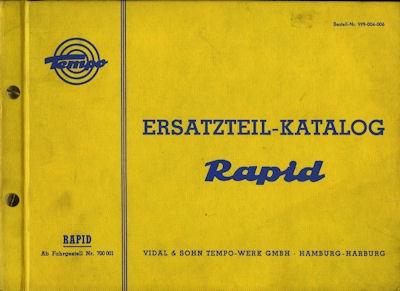 Tempo Rapid Ersatzteilliste 11.1958