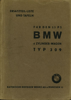 BMW 309 22 PS Ersatzteilliste 1.1936