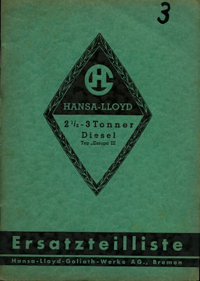 Hansa-Lloyd Lkw Europa III 2,5-3 to Ersatzteilliste 1937