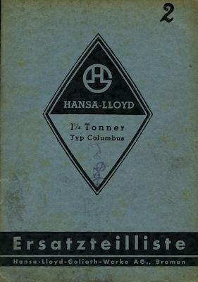 Hansa-Lloyd Lkw Columbus 1,25 to Ersatzteilliste 1937