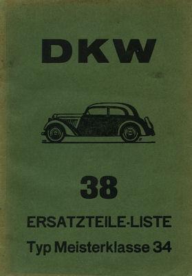 DKW Meisterklasse F 4 Ersatzteilliste Nr. 38 1934