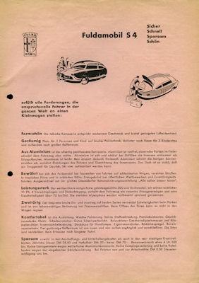 Fuldamobil S 4 Prospekt 1950er Jahre