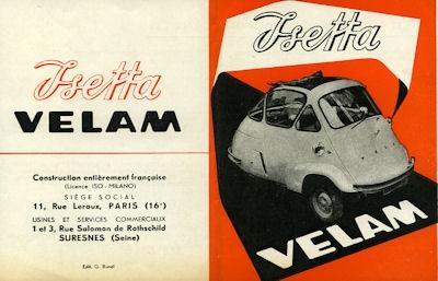 Isetta Velam Prospekt 1950er Jahre f
