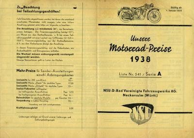 Unsere Preise NSU Serie A 1.1.1938